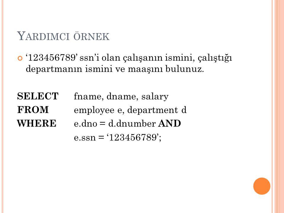 Yardimci örnek '123456789' ssn'i olan çalışanın ismini, çalıştığı departmanın ismini ve maaşını bulunuz.