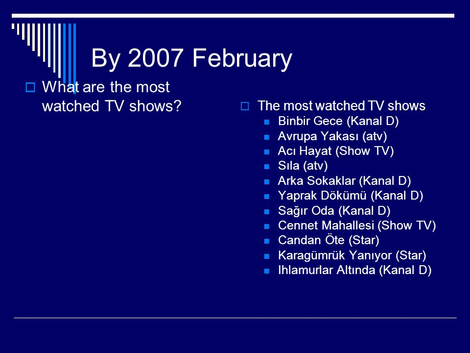 By 2007 February What are the most watched TV shows