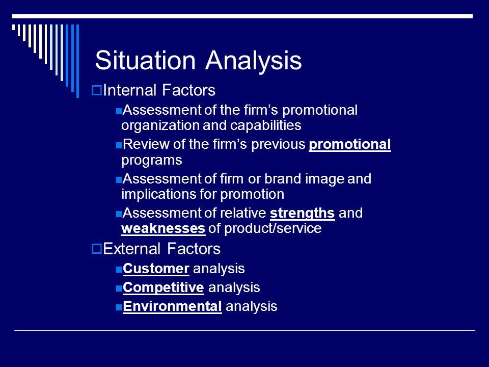 Situation Analysis Internal Factors External Factors