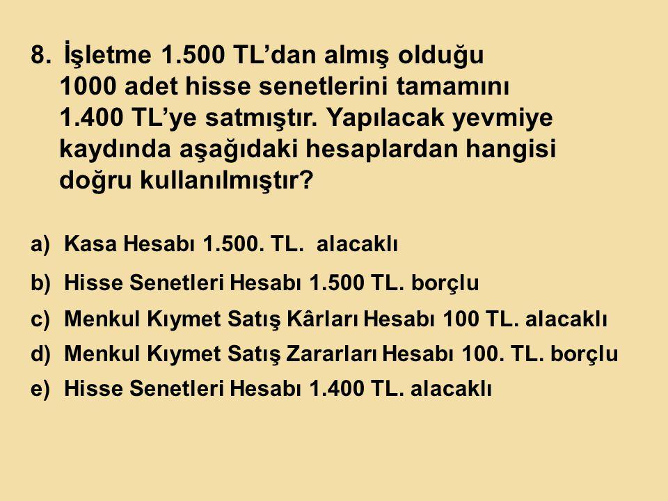 İşletme 1.500 TL'dan almış olduğu 1000 adet hisse senetlerini tamamını