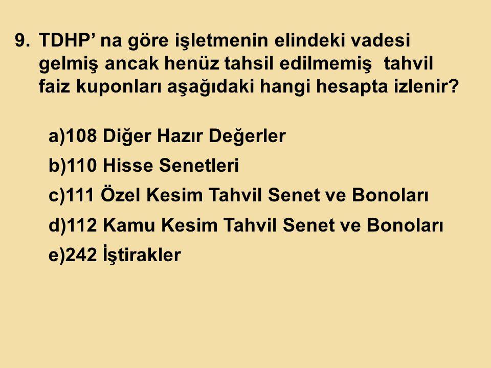 TDHP' na göre işletmenin elindeki vadesi gelmiş ancak henüz tahsil edilmemiş tahvil faiz kuponları aşağıdaki hangi hesapta izlenir