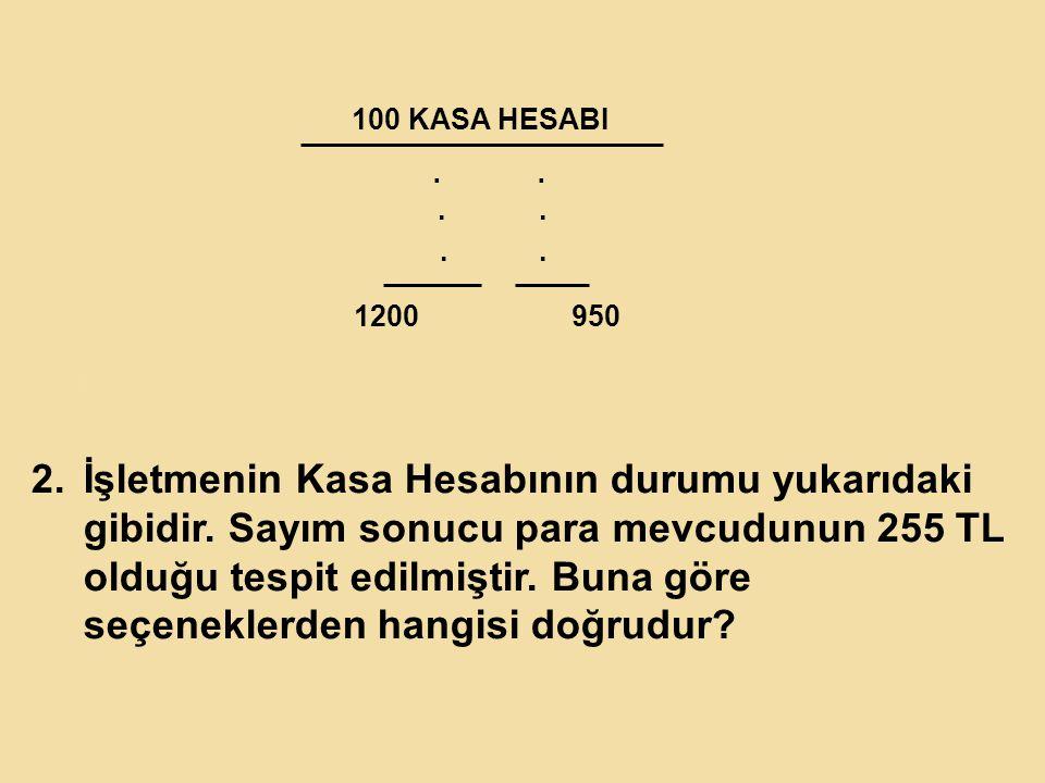 100 KASA HESABI . . . . . . 1200. 950. K.