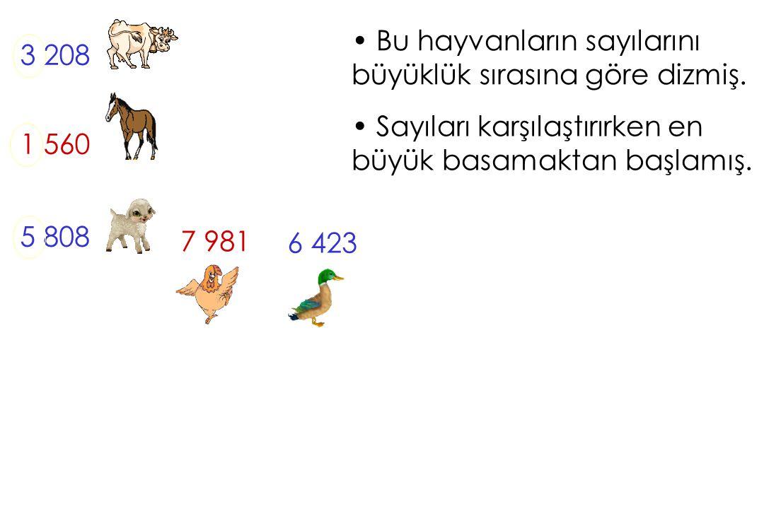 Bu hayvanların sayılarını büyüklük sırasına göre dizmiş. 3 208