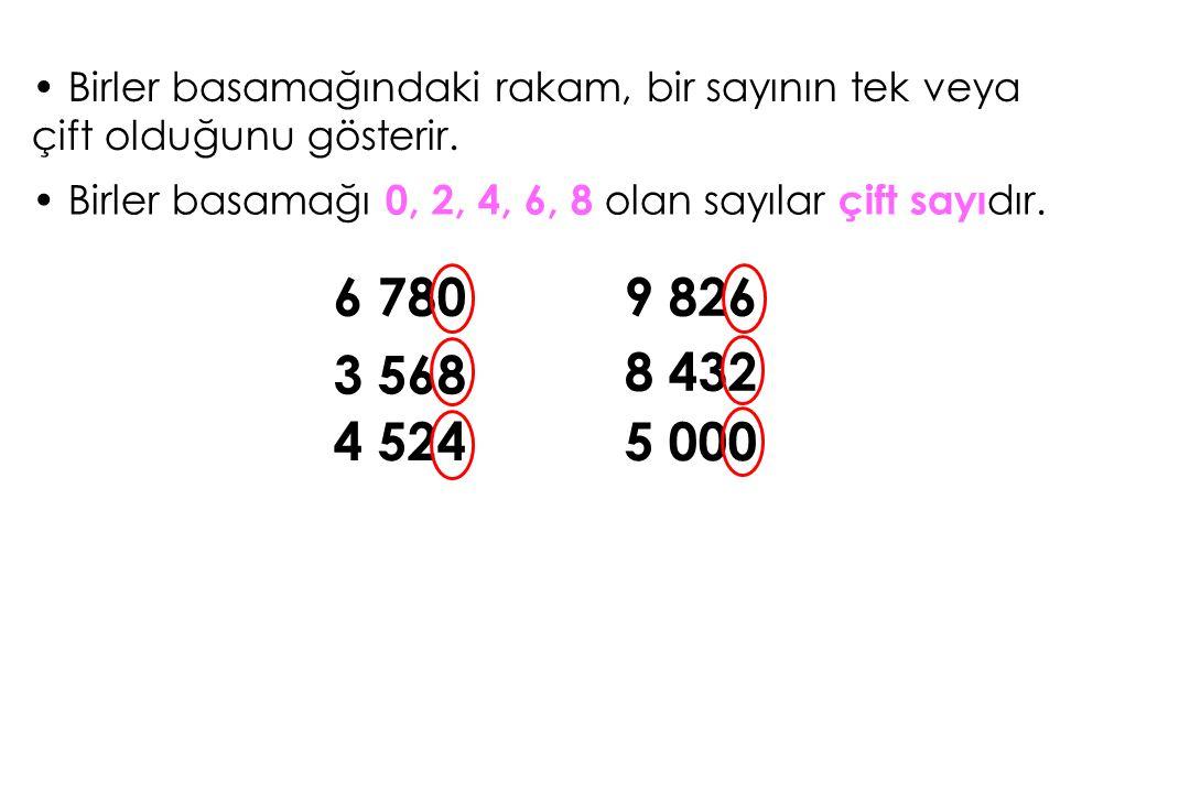 Birler basamağındaki rakam, bir sayının tek veya çift olduğunu gösterir.