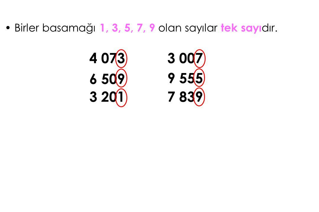 Birler basamağı 1, 3, 5, 7, 9 olan sayılar tek sayıdır.