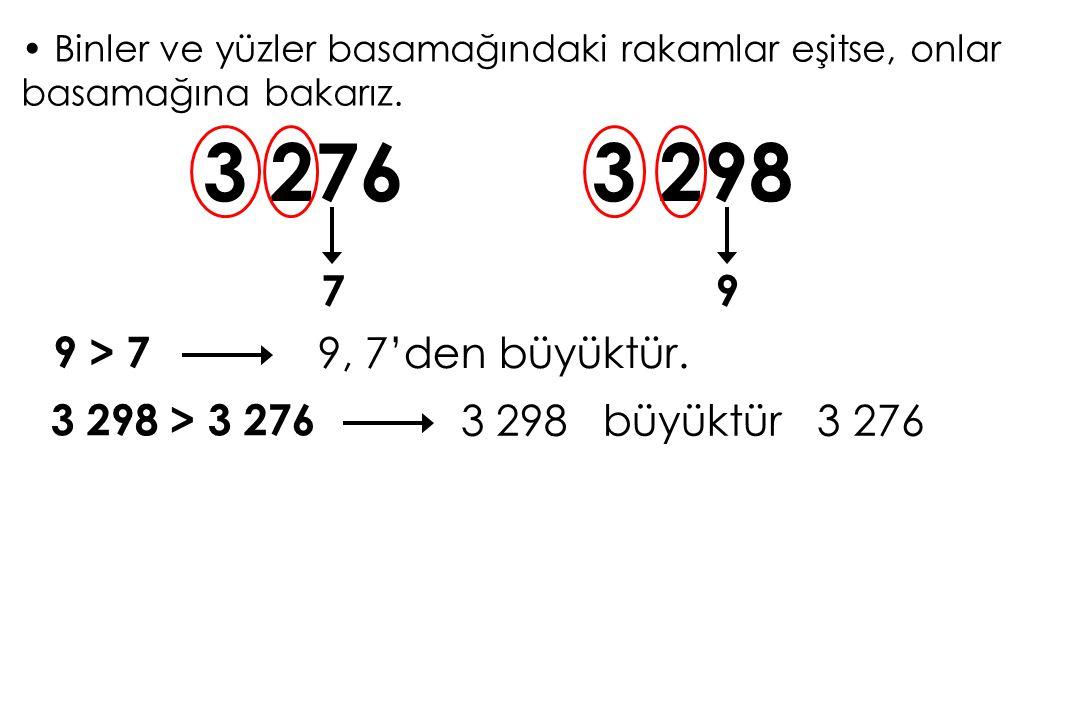 3 276 3 298 7 9 9 > 7 9, 7'den büyüktür. 3 298 > 3 276