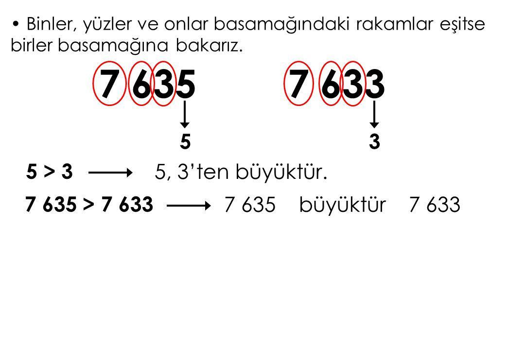 7 635 7 633 5 3 5 > 3 5, 3'ten büyüktür. 7 635 > 7 633