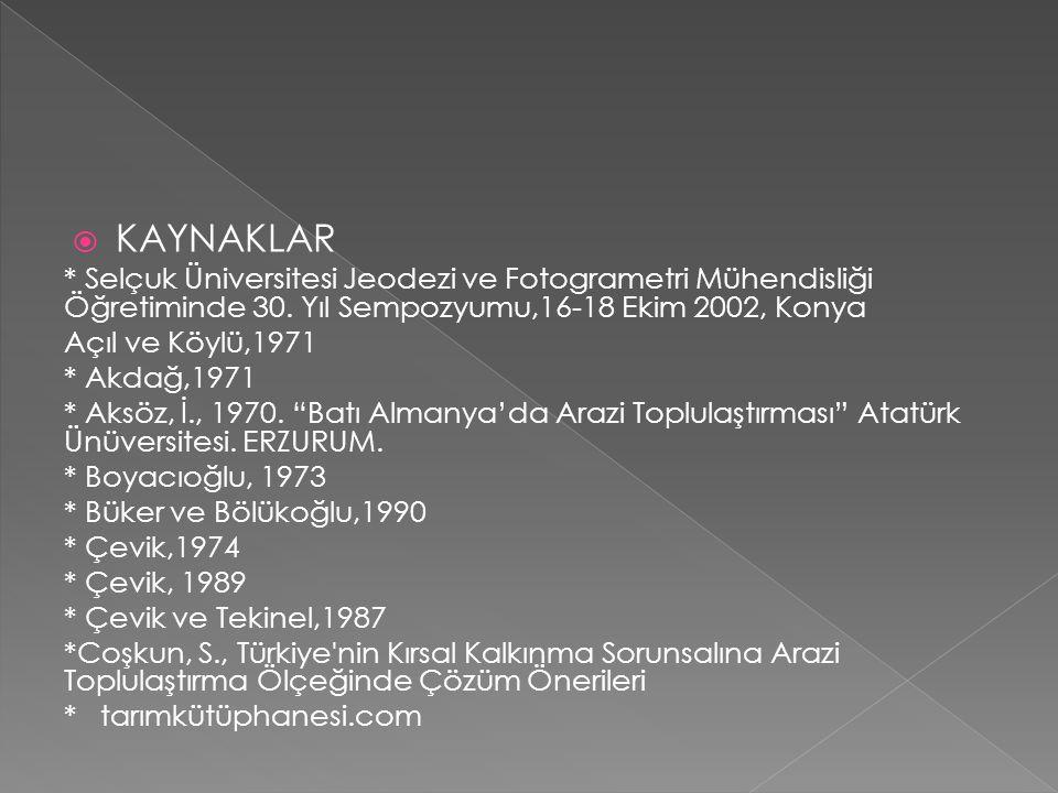 KAYNAKLAR * Selçuk Üniversitesi Jeodezi ve Fotogrametri Mühendisliği Öğretiminde 30. Yıl Sempozyumu,16-18 Ekim 2002, Konya.