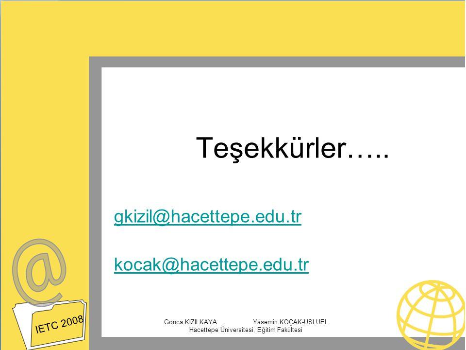 Teşekkürler….. gkizil@hacettepe.edu.tr kocak@hacettepe.edu.tr
