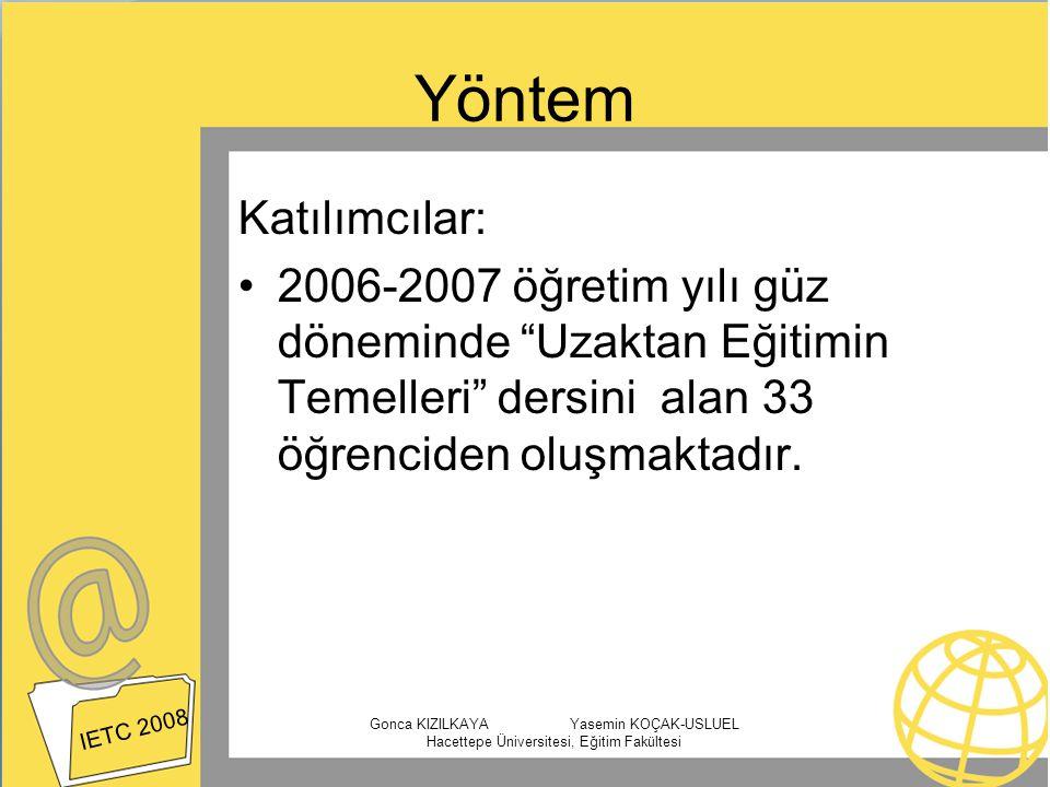 Yöntem Katılımcılar: 2006-2007 öğretim yılı güz döneminde Uzaktan Eğitimin Temelleri dersini alan 33 öğrenciden oluşmaktadır.