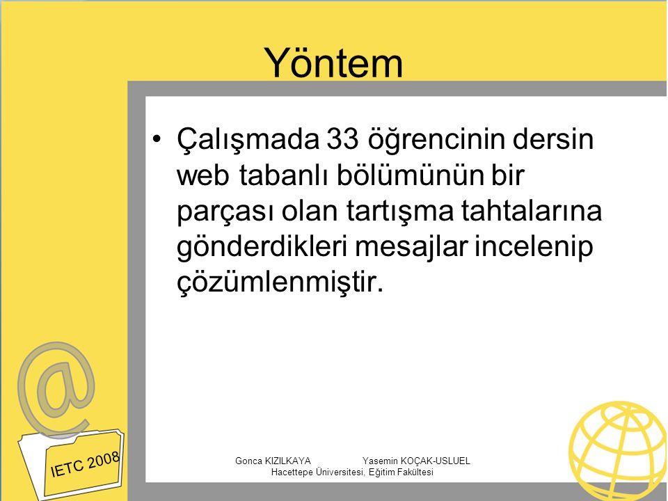 Yöntem Çalışmada 33 öğrencinin dersin web tabanlı bölümünün bir parçası olan tartışma tahtalarına gönderdikleri mesajlar incelenip çözümlenmiştir.