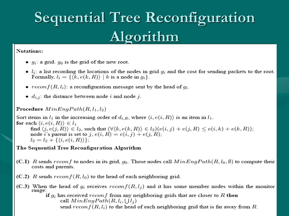 Sequential Tree Reconfiguration Algorithm