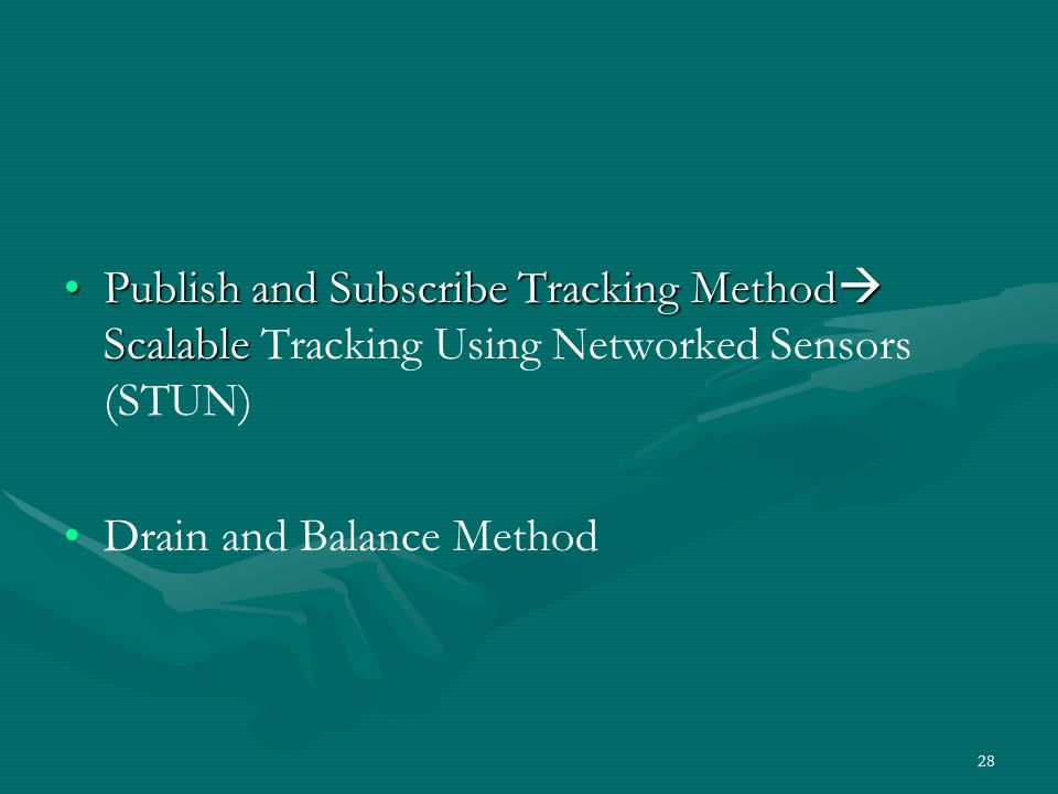 Publish and Subscribe Tracking Method Scalable Tracking Using Networked Sensors (STUN)