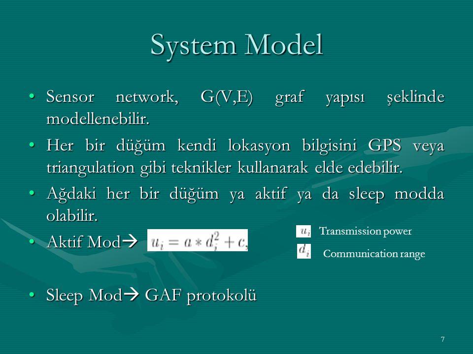 System Model Sensor network, G(V,E) graf yapısı şeklinde modellenebilir.