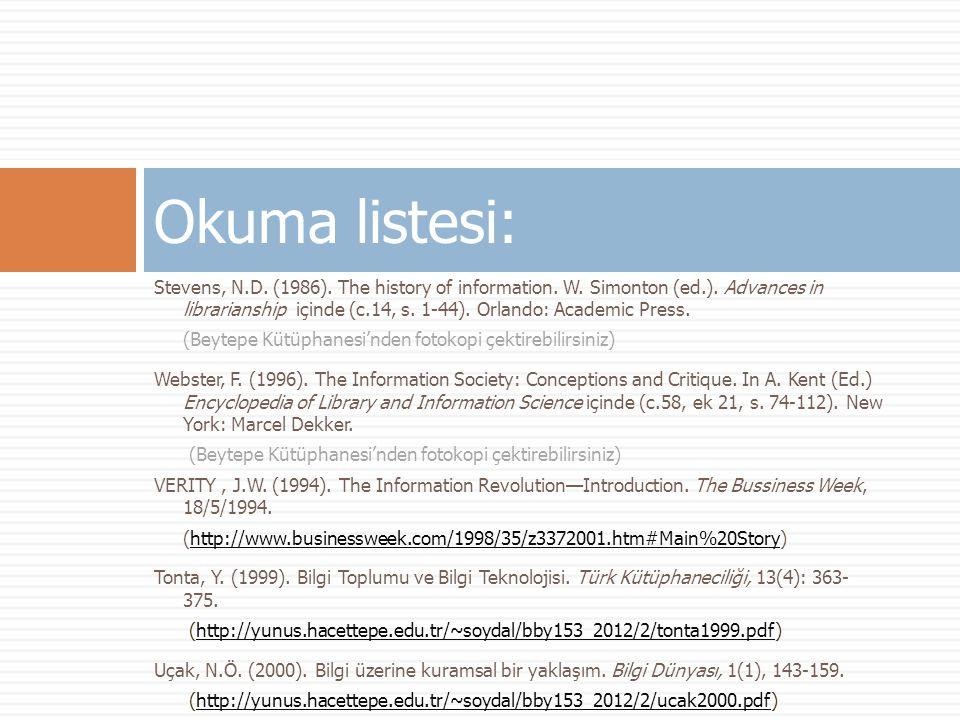Okuma listesi: