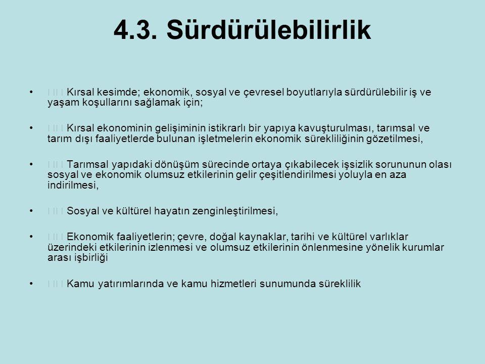 4.3. Sürdürülebilirlik  Kırsal kesimde; ekonomik, sosyal ve çevresel boyutlarıyla sürdürülebilir iş ve yaşam koşullarını sağlamak için;