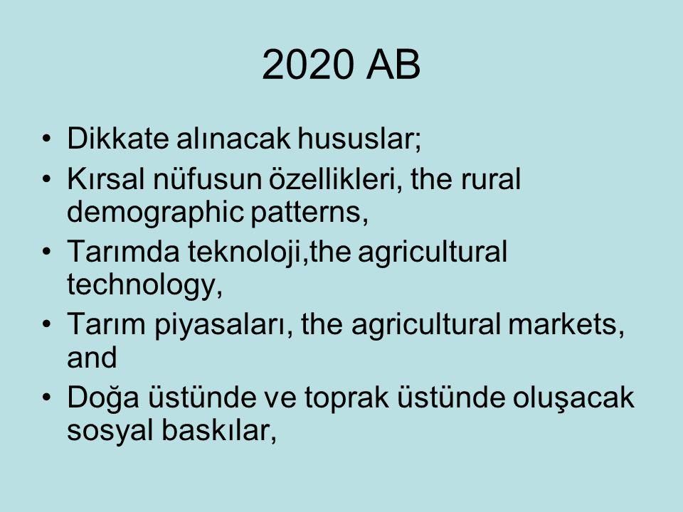 2020 AB Dikkate alınacak hususlar;