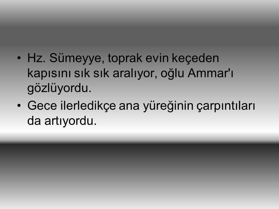 Hz. Sümeyye, toprak evin keçeden kapısını sık sık aralıyor, oğlu Ammar ı gözlüyordu.