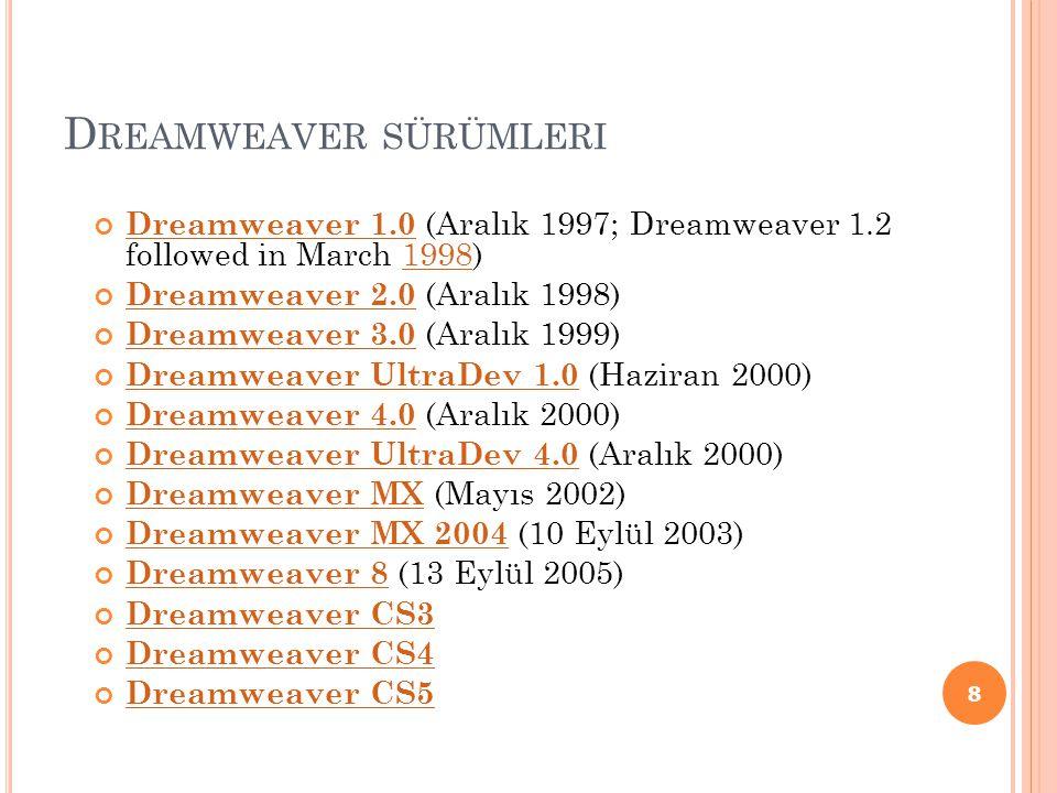 Dreamweaver sürümleri