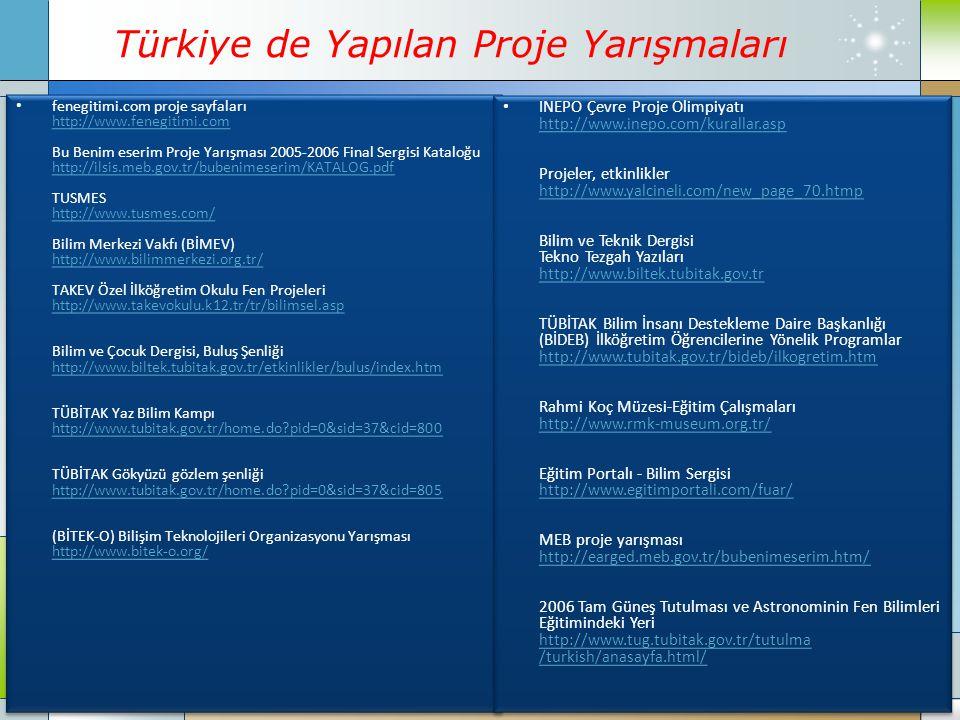 Türkiye de Yapılan Proje Yarışmaları