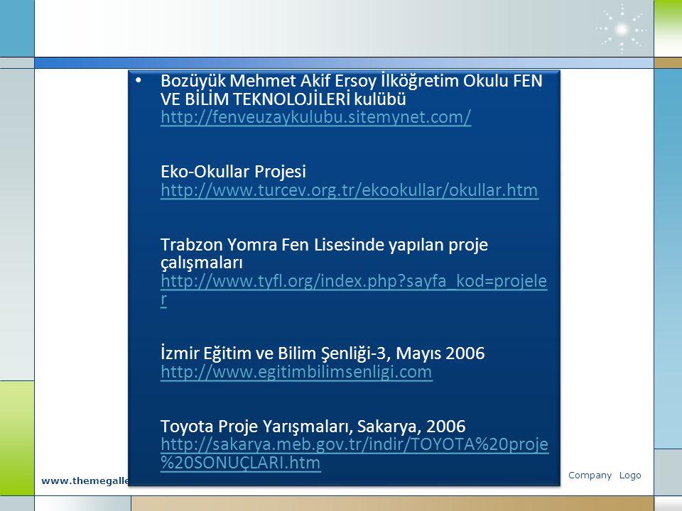 Bozüyük Mehmet Akif Ersoy İlköğretim Okulu FEN VE BİLİM TEKNOLOJİLERİ kulübü http://fenveuzaykulubu.sitemynet.com/ Eko-Okullar Projesi http://www.turcev.org.tr/ekookullar/okullar.htm Trabzon Yomra Fen Lisesinde yapılan proje çalışmaları http://www.tyfl.org/index.php sayfa_kod=projeler İzmir Eğitim ve Bilim Şenliği-3, Mayıs 2006 http://www.egitimbilimsenligi.com Toyota Proje Yarışmaları, Sakarya, 2006 http://sakarya.meb.gov.tr/indir/TOYOTA%20proje%20SONUÇLARI.htm