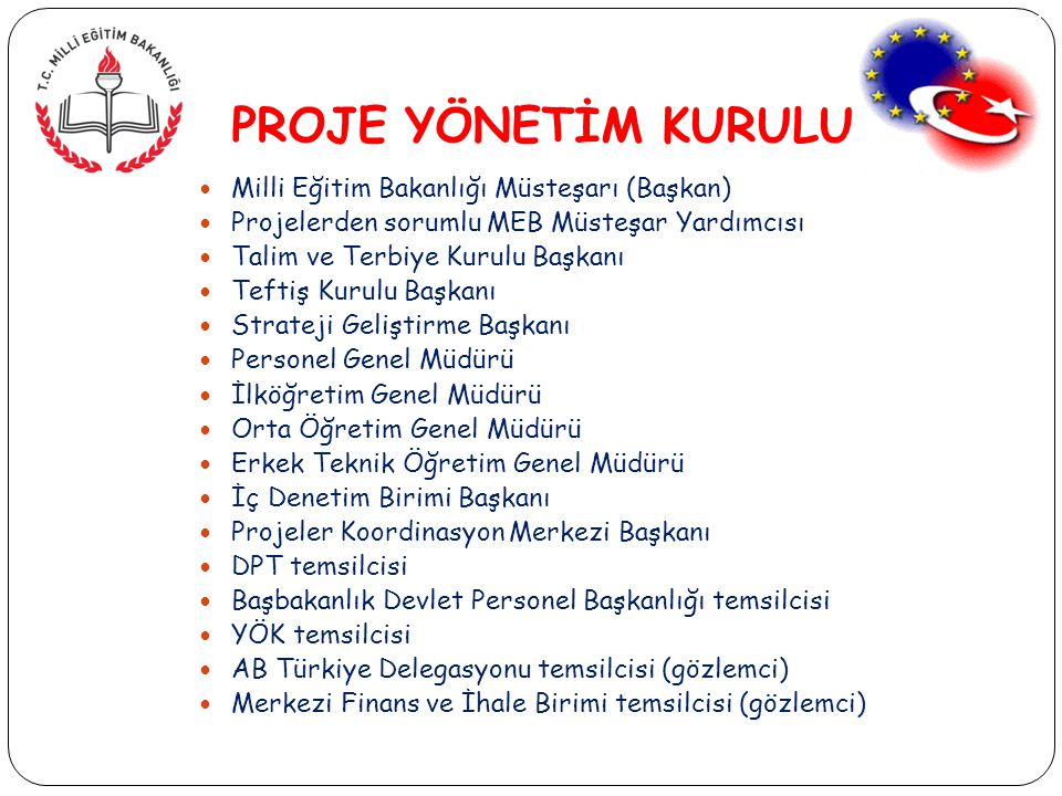 PROJE YÖNETİM KURULU Milli Eğitim Bakanlığı Müsteşarı (Başkan)