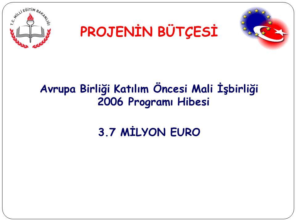 PROJENİN BÜTÇESİ Avrupa Birliği Katılım Öncesi Mali İşbirliği 2006 Programı Hibesi 3.7 MİLYON EURO