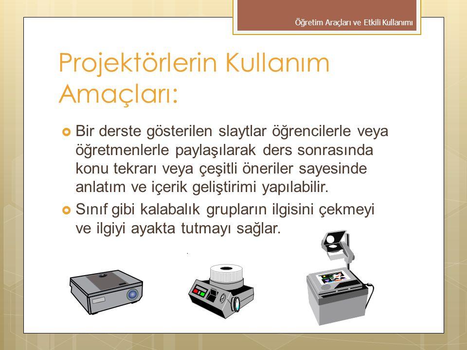 Projektörlerin Kullanım Amaçları: