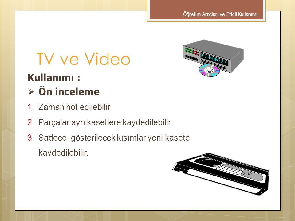 TV ve Video Kullanımı : Ön inceleme Zaman not edilebilir