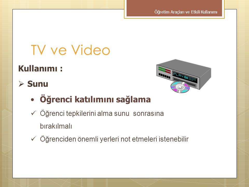 TV ve Video Kullanımı : Sunu Öğrenci katılımını sağlama