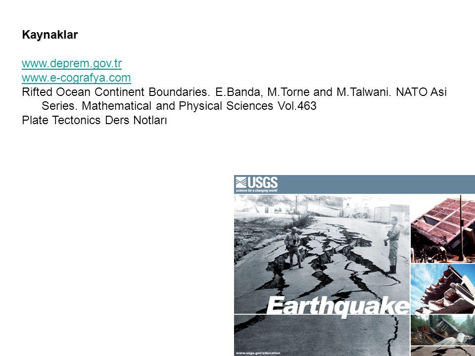 Kaynaklar www.deprem.gov.tr. www.e-cografya.com. Rifted Ocean Continent Boundaries. E.Banda, M.Torne and M.Talwani. NATO Asi.
