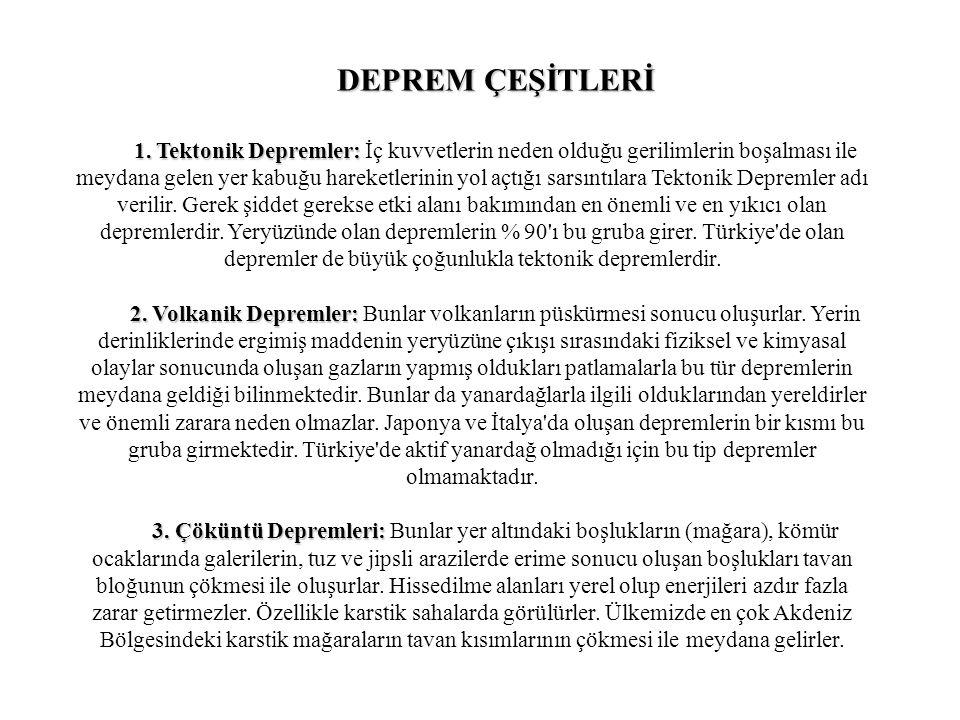 DEPREM ÇEŞİTLERİ