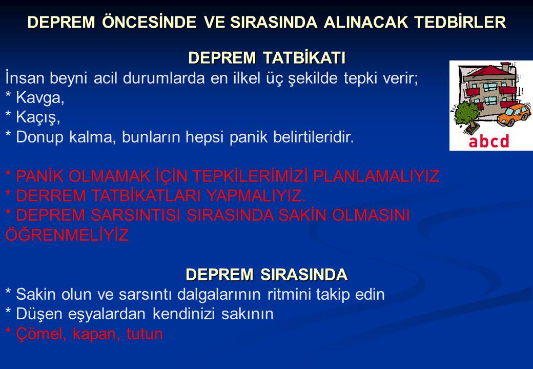DEPREM ÖNCESİNDE VE SIRASINDA ALINACAK TEDBİRLER
