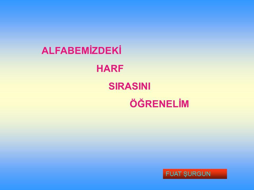ALFABEMİZDEKİ HARF SIRASINI ÖĞRENELİM FUAT ŞURGUN