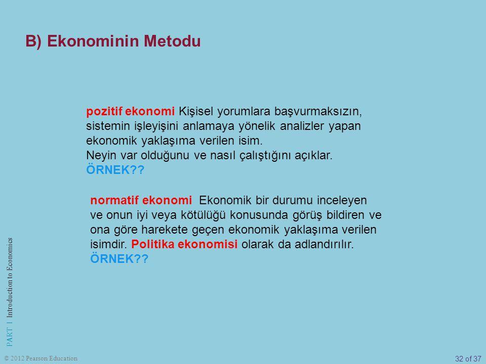 B) Ekonominin Metodu