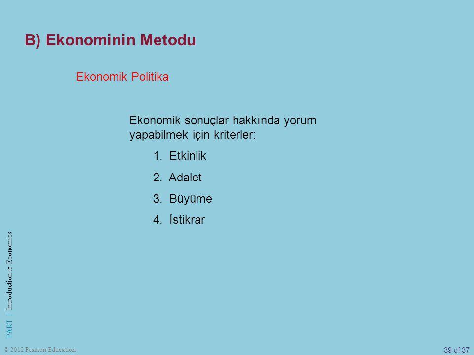 B) Ekonominin Metodu Ekonomik Politika