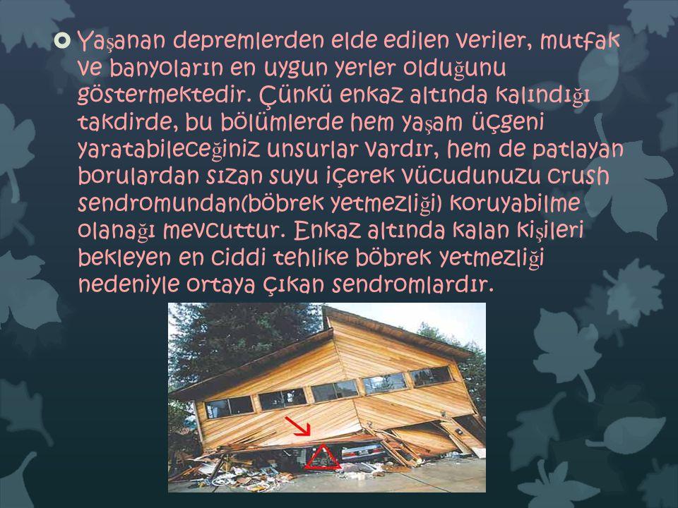 Yaşanan depremlerden elde edilen veriler, mutfak ve banyoların en uygun yerler olduğunu göstermektedir.