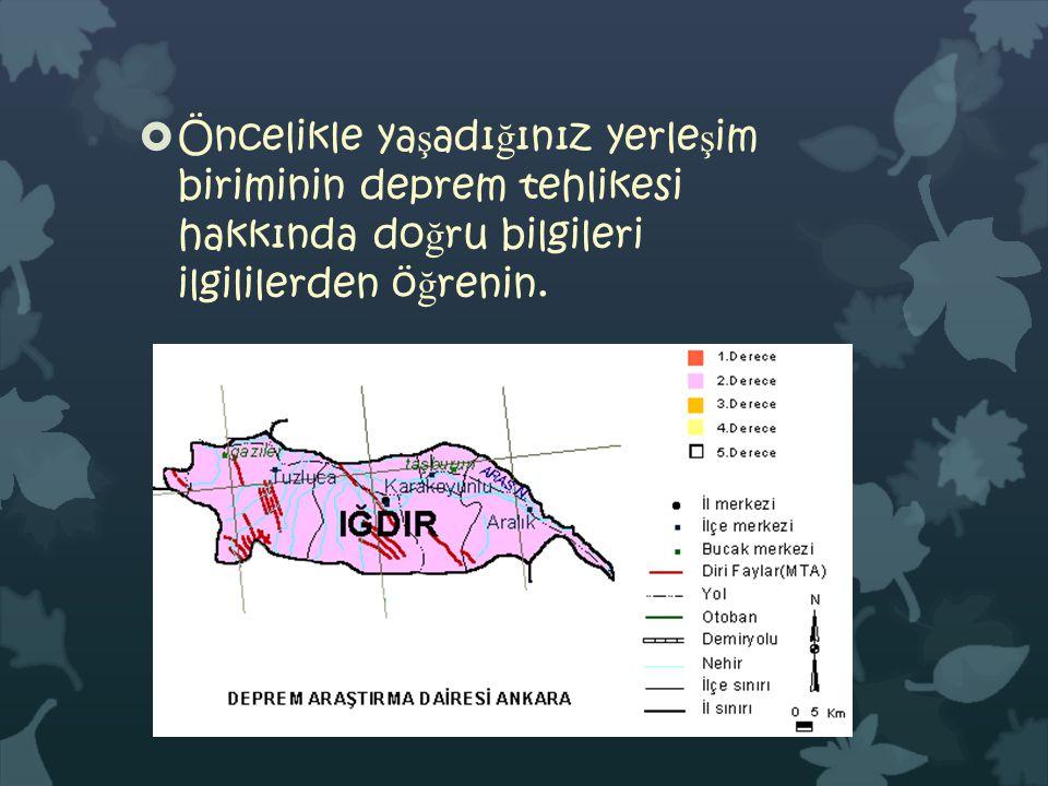 Öncelikle yaşadığınız yerleşim biriminin deprem tehlikesi hakkında doğru bilgileri ilgililerden öğrenin.