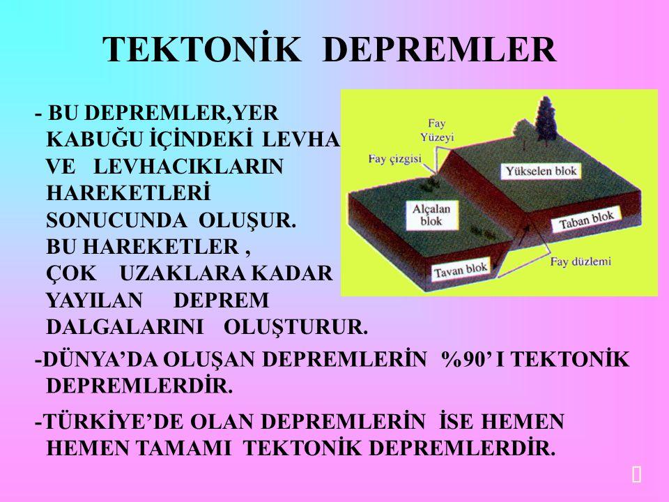 TEKTONİK DEPREMLER - BU DEPREMLER,YER KABUĞU İÇİNDEKİ LEVHA