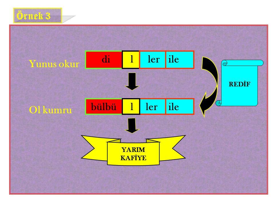 Örnek 3 Yunus okur Ol kumru di l ler ile bülbü l ler ile REDİF YARIM