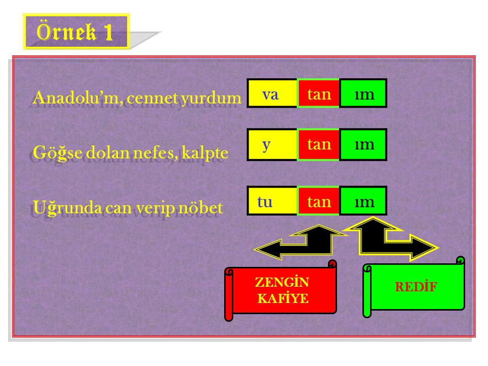 Örnek 1 Anadolu'm, cennet yurdum Göğse dolan nefes, kalpte