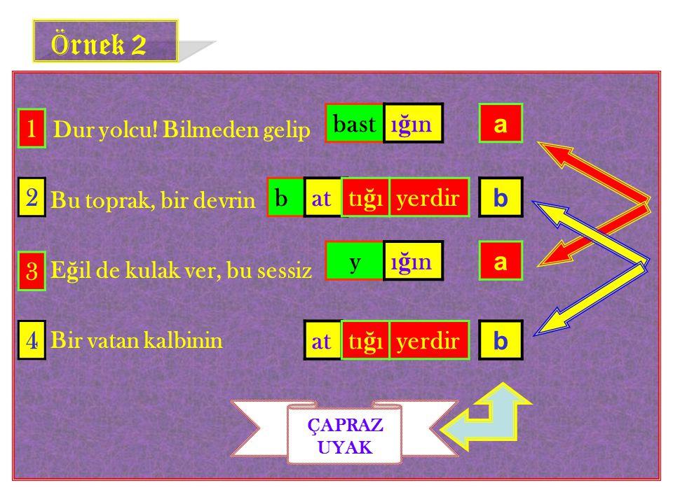 Örnek 2 Dur yolcu! Bilmeden gelip bast ığın a 1 2 b at tığı yerdir b y