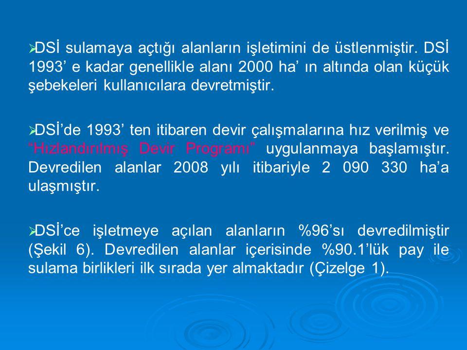 DSİ sulamaya açtığı alanların işletimini de üstlenmiştir