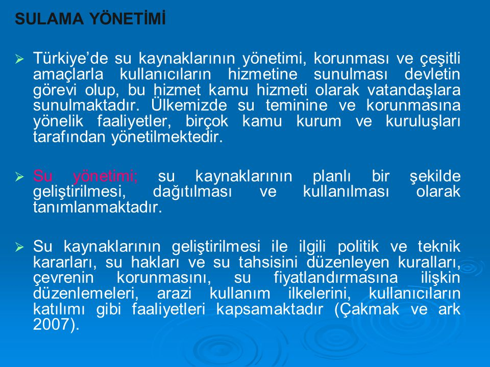 SULAMA YÖNETİMİ