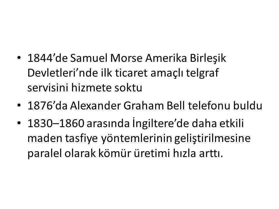 1844'de Samuel Morse Amerika Birleşik Devletleri'nde ilk ticaret amaçlı telgraf servisini hizmete soktu