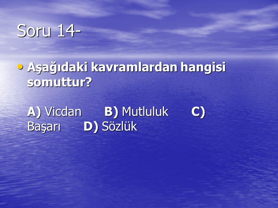 Soru 14- Aşağıdaki kavramlardan hangisi somuttur.