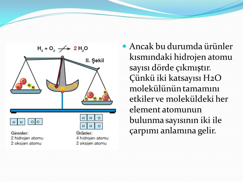 Ancak bu durumda ürünler kısmındaki hidrojen atomu sayısı dörde çıkmıştır.