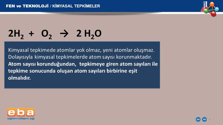 2H2 + O2 → 2 H2O FEN ve TEKNOLOJİ / KİMYASAL TEPKİMELER
