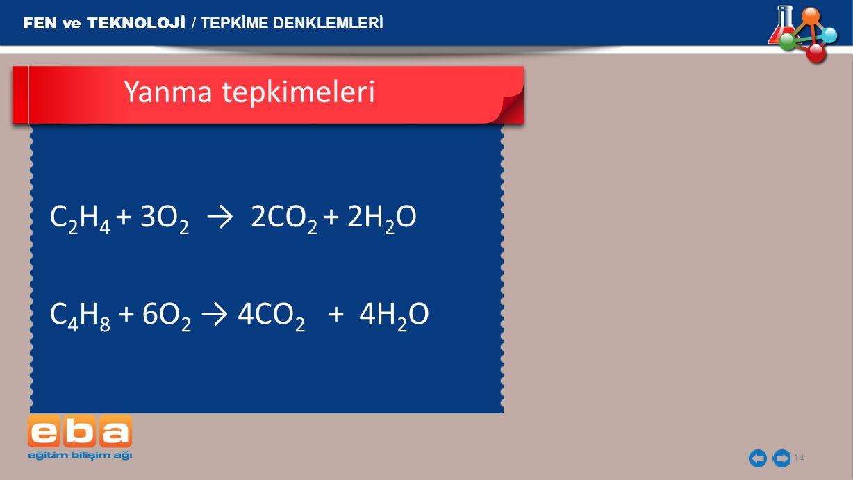 Yanma tepkimeleri C2H4 + 3O2 → 2CO2 + 2H2O 
