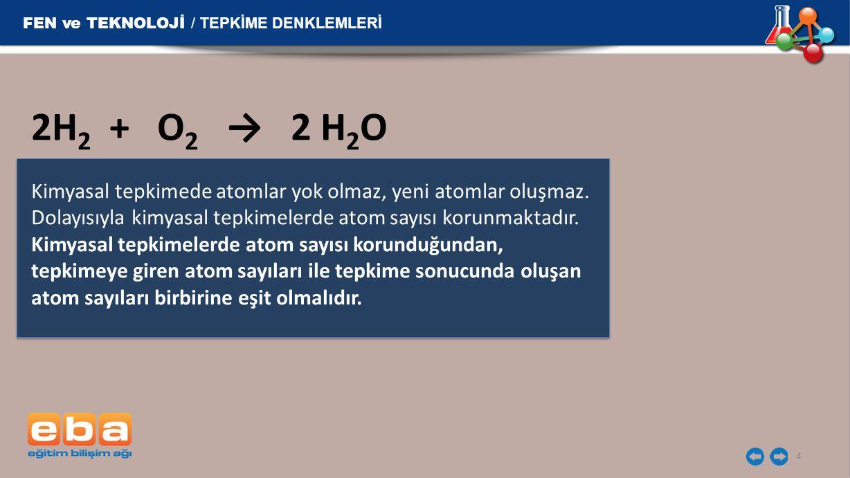 2H2 + O2 → 2 H2O FEN ve TEKNOLOJİ / TEPKİME DENKLEMLERİ